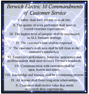 a description of the ten commandments of customer service