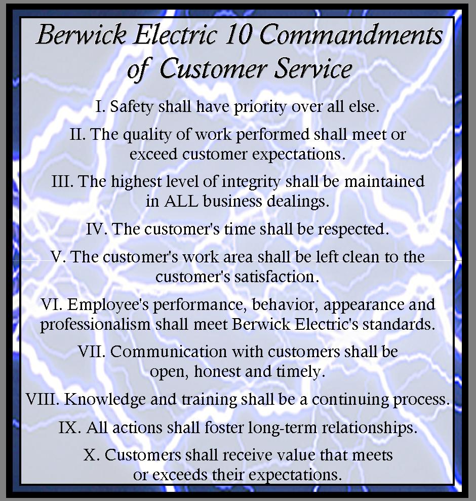 BEC 10 Commandments of Customer Service