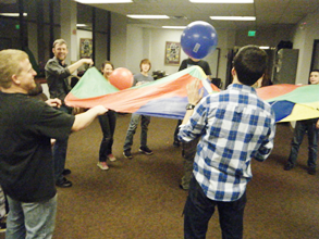 Image: Playing with a parachute at SKSF.